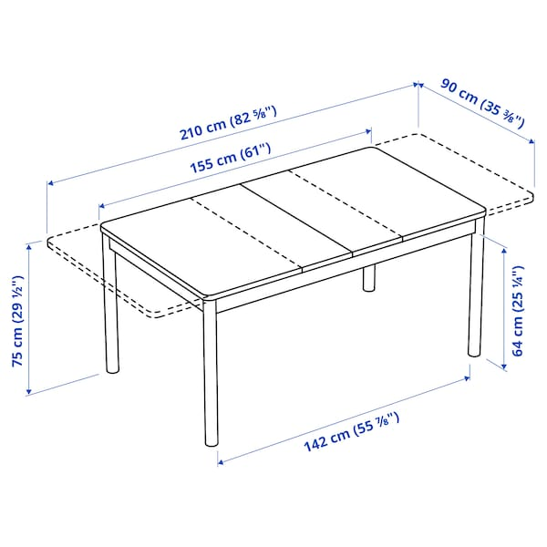 "RÖNNINGE Extendable table, birch, 61/82 5/8x35 3/8x29 1/2 """