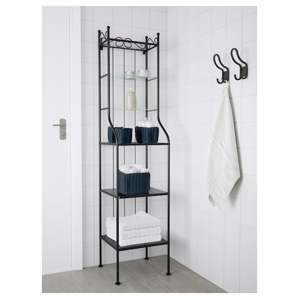 RÖNNSKÄR Shelf unit, black, 16 1/2x69 1/4 ""