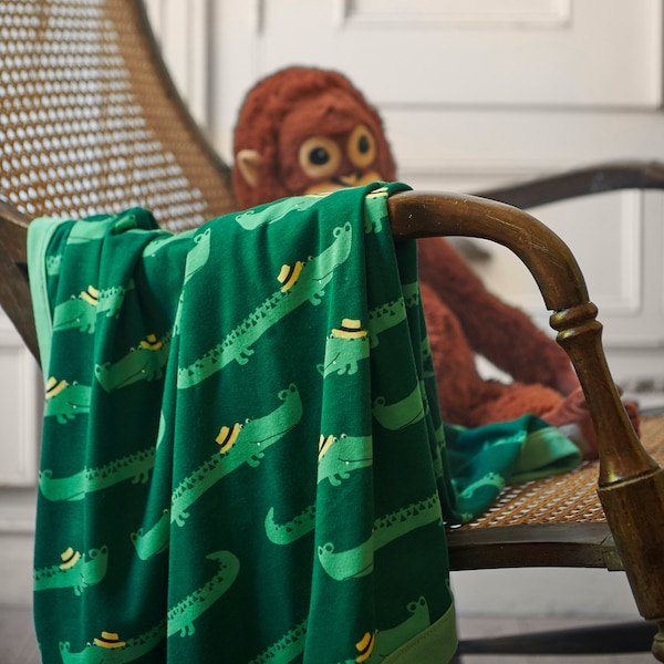 "RÖRANDE Baby blanket, crocodile/green, 32x39 """