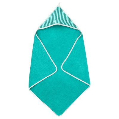 "RÖRANDE Towel with hood, stripe/green, 32x32 """