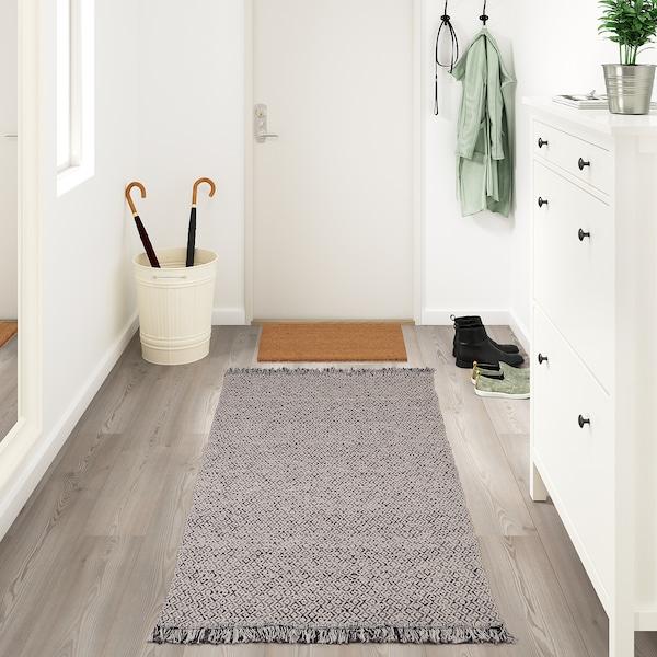 "RÖRKÄR Rug, flatwoven, black/natural, 31 1/2x59 """