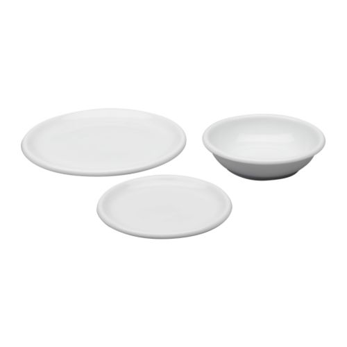 RONDO 18-piece dinnerware set IKEA The side plate can also be used as a lid for the deep plate.  Service for 6.  Feldspar porcelain.