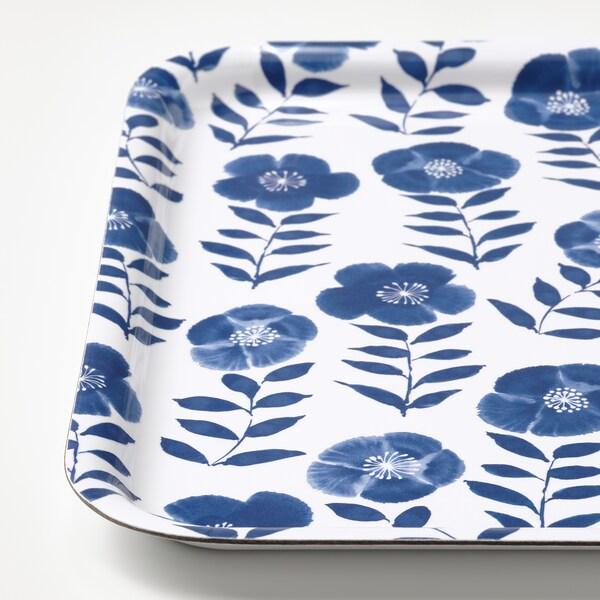 """ROSENHÄTTA Tray, flower patterned/blue, 13x13 """""""