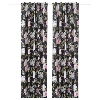 ROSENMOTT Blackout curtains, 1 pair, black/floral patterned, 57x98 ""