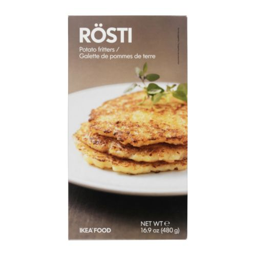 RÖSTI Potato fritters, frozen IKEA Grated raw potatoes, fried as a pancake.   Serve with any meat, fish or poultry.   Just heat and serve!.