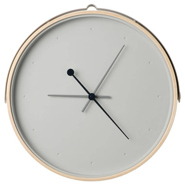 """ROTBLÖTA Wall clock, ash veneer/light gray, 16 ½ """""""