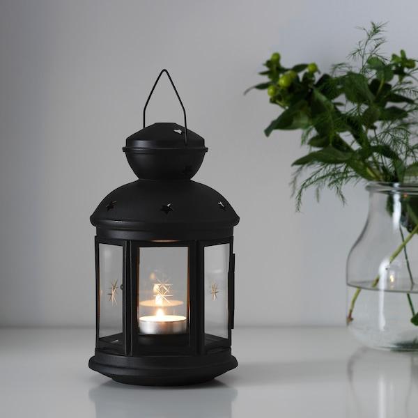 "ROTERA lantern for tealight indoor/outdoor black 8 ¼ """