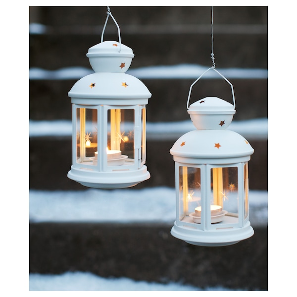 """ROTERA Lantern for tealight, indoor/outdoor white, 8 ¼ """""""