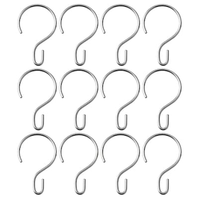 RUDSJÖN Shower curtain rings, stainless steel color