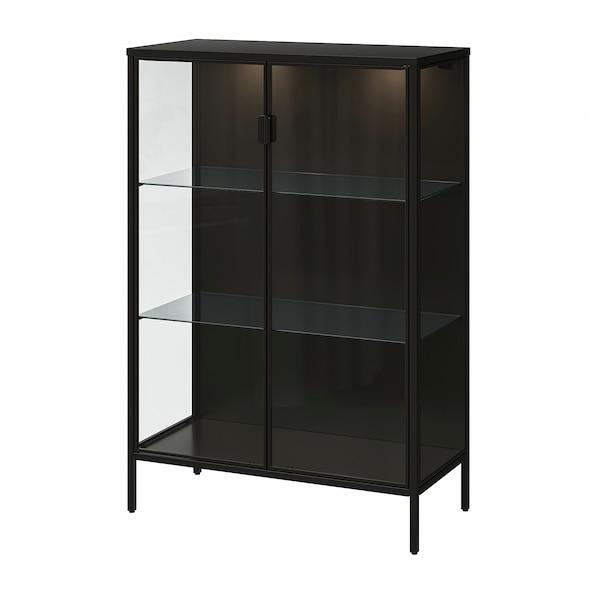 "RUDSTA / VAXMYRA Glass-door cabinet with lighting, anthracite, 31 1/2x14 5/8x47 1/4 """