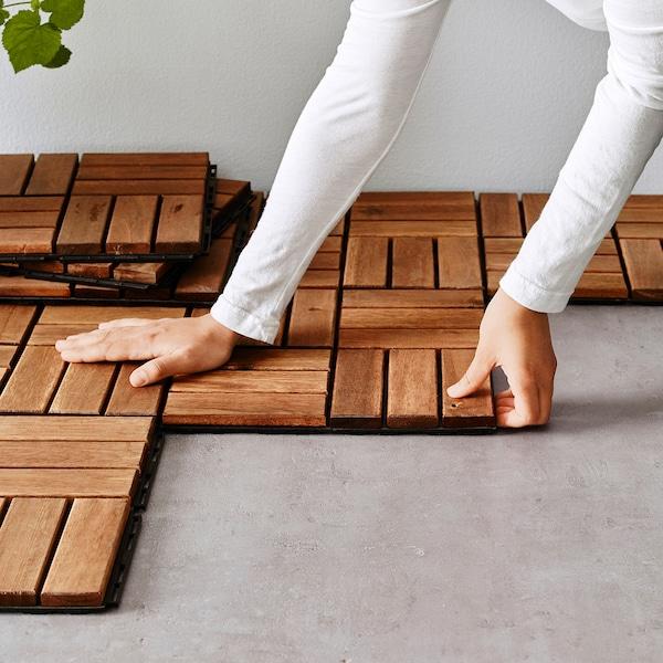 RUNNEN Decking, outdoor, brown stained, 9 sq feet