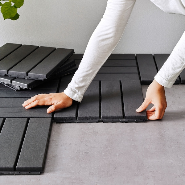 RUNNEN Decking, outdoor, dark gray, 9 sq feet