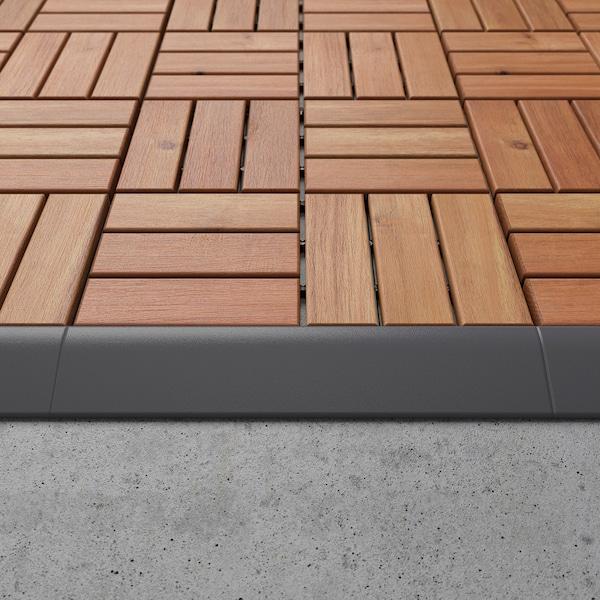 RUNNEN Edging strip, outdoor decking, dark gray, 4 pieces
