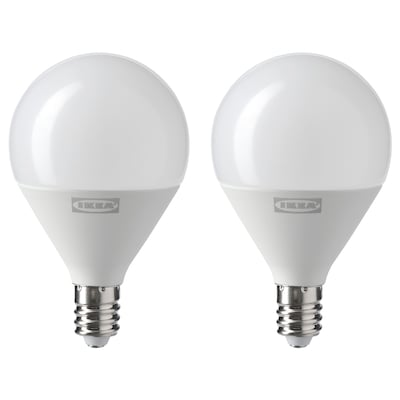 RYET LED bulb E12 250 lumen, globe opal, 2 pack