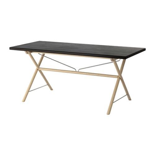 RYGGESTAD Table, black, Dalshult birch Dalshult birch