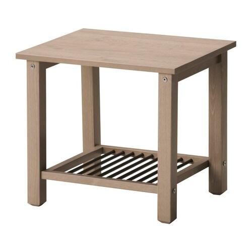 Godmorgon Ikea Installation ~ IKEA RYKENE Nightstand  Table Gray  Brown Solid Pine Steel Shelf New