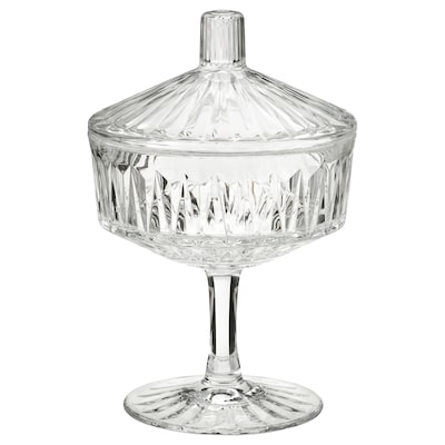 SÄLLSKAPLIG Bowl with lid, clear glass/patterned, 4 ""