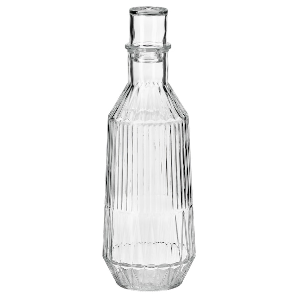 SÄLLSKAPLIG Carafe with stopper, clear glass/patterned, 34 oz