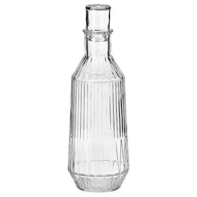 SÄLLSKAPLIG Carafe with stopper, clear glass/patterned, 34 oz