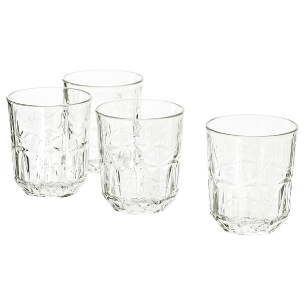 SÄLLSKAPLIG Glass, clear glass/patterned, 9 oz