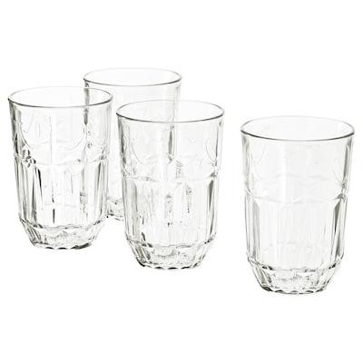 SÄLLSKAPLIG Glass, clear glass/patterned, 13 oz