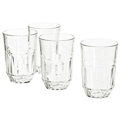 SÄLLSKAPLIG Glass, clear glass/patterned, 13 oz