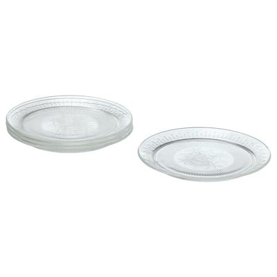 "SÄLLSKAPLIG Side plate, clear glass/patterned, 8 """