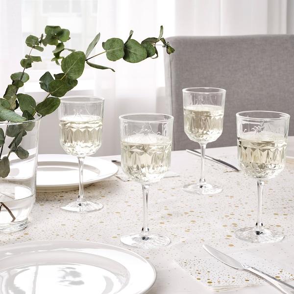 SÄLLSKAPLIG Wine glass, clear glass/patterned, 9 oz