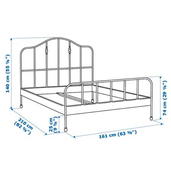 SAGSTUA Bed frame, white/Lönset, Queen