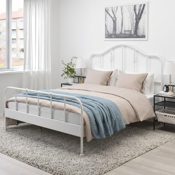 SAGSTUA Bed frame, white/Luröy, Queen