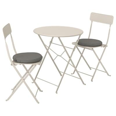 SALTHOLMEN table and 2 folding chairs, outdoor beige/Frösön/Duvholmen dark gray