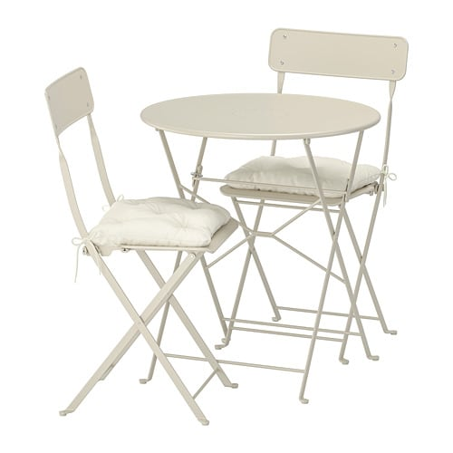 Scaune Living Ikea.Saltholmen Table And 2 Folding Chairs Outdoor Beige Kuddarna Beige