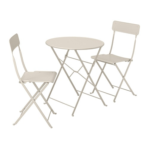 Scaune Living Ikea.Saltholmen Table And 2 Folding Chairs Outdoor Beige
