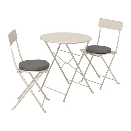 Scaune Living Ikea.Saltholmen Table And 2 Folding Chairs Outdoor Beige Froson Duvholmen Dark Gray