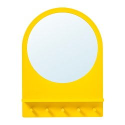 SALTRÖD mirror with shelf and hooks, yellow