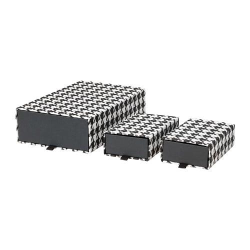 SAMMANHANG Caja, set de 3, negra, blanca