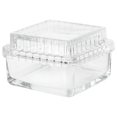SAMMANHANG Glass box with lid, clear glass, 5 1/8x5 1/8x3 1/8 ""