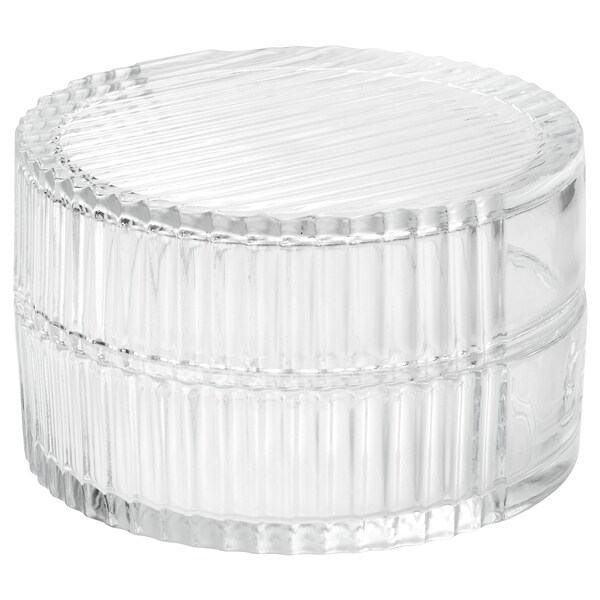 """SAMMANHANG glass box with lid clear glass 3 ¼ """" 5 """""""