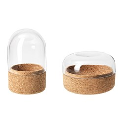 SAMMANHANG glass dome with base, set of 2, clear glass, cork