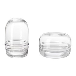 SAMMANHANG glass dome with base, set of 2, clear glass