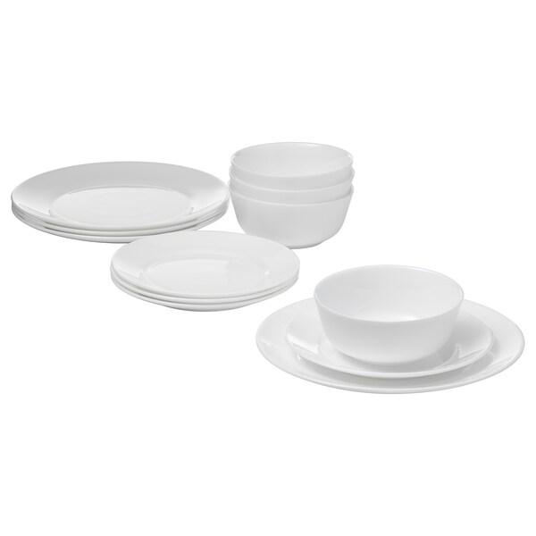 SAMTIDIG 12 piece dinnerware set, white