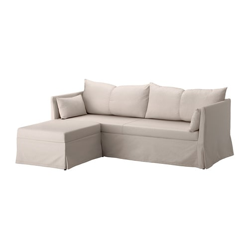 SANDBACKEN - Sleeper sectional, 3-seat, Lofallet beige