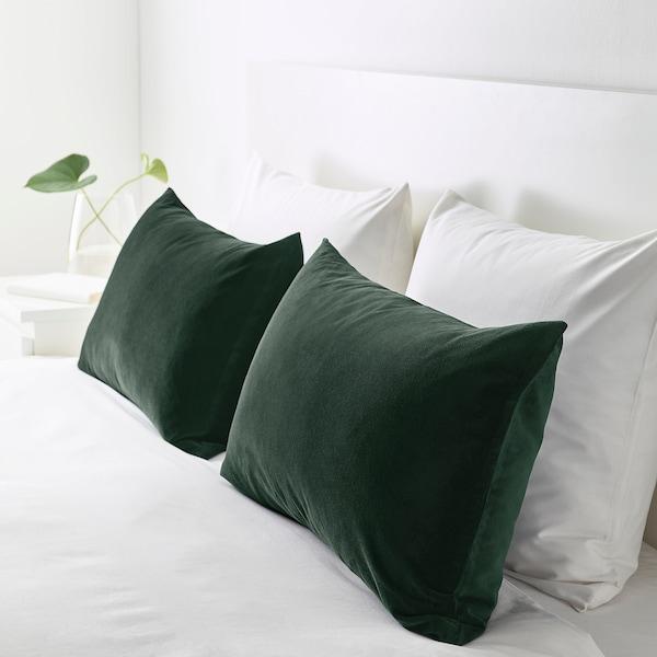 "SANELA Cushion cover, dark green, 16x26 """