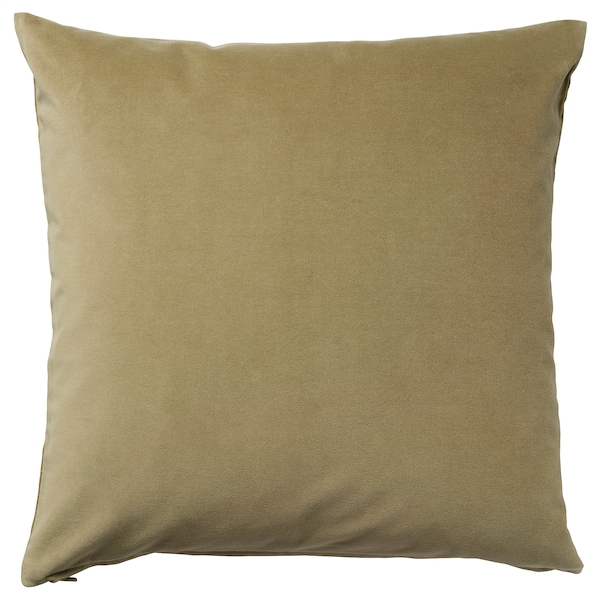 SANELA Cushion cover, light olive-green, 20x20 ""