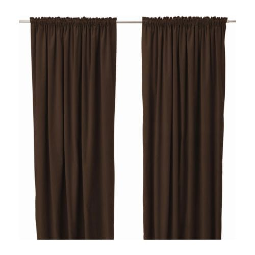 "SANELA Pair of curtains, dark brown Length: 118 "" Width: 55 "" Weight: 5 lb 8 oz  Length: 300 cm Width: 140 cm Weight: 2.50 kg"