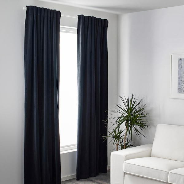 "SANELA room darkening curtains, 1 pair dark blue 118 "" 55 "" 5 lb 9 oz 45.21 sq feet 2 pack"