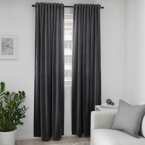 Sanela Room Darkening Curtains 1 Pair Dark Gray 55x98 Ikea