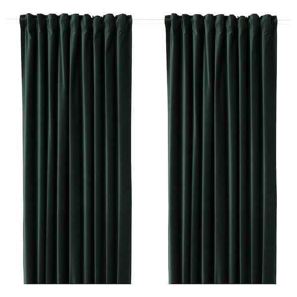 """SANELA Room darkening curtains, 1 pair, dark green, 55x98 """""""