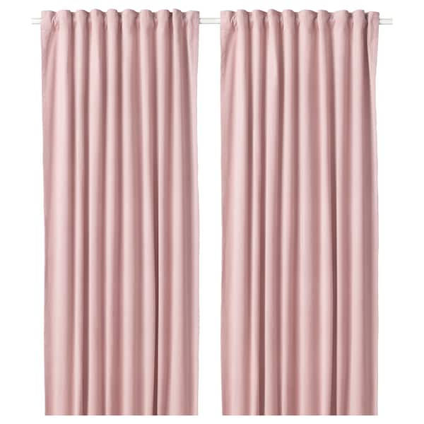 "SANELA room darkening curtains, 1 pair light pink 98 "" 55 "" 4 lb 11 oz 37.67 sq feet 2 pack"