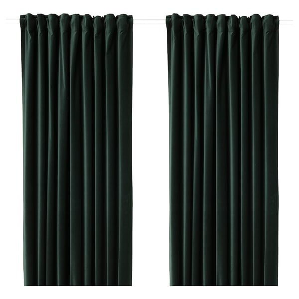 "SANELA room darkening curtains, 1 pair dark green 98 "" 55 "" 4 lb 11 oz 37.67 sq feet 2 pack"
